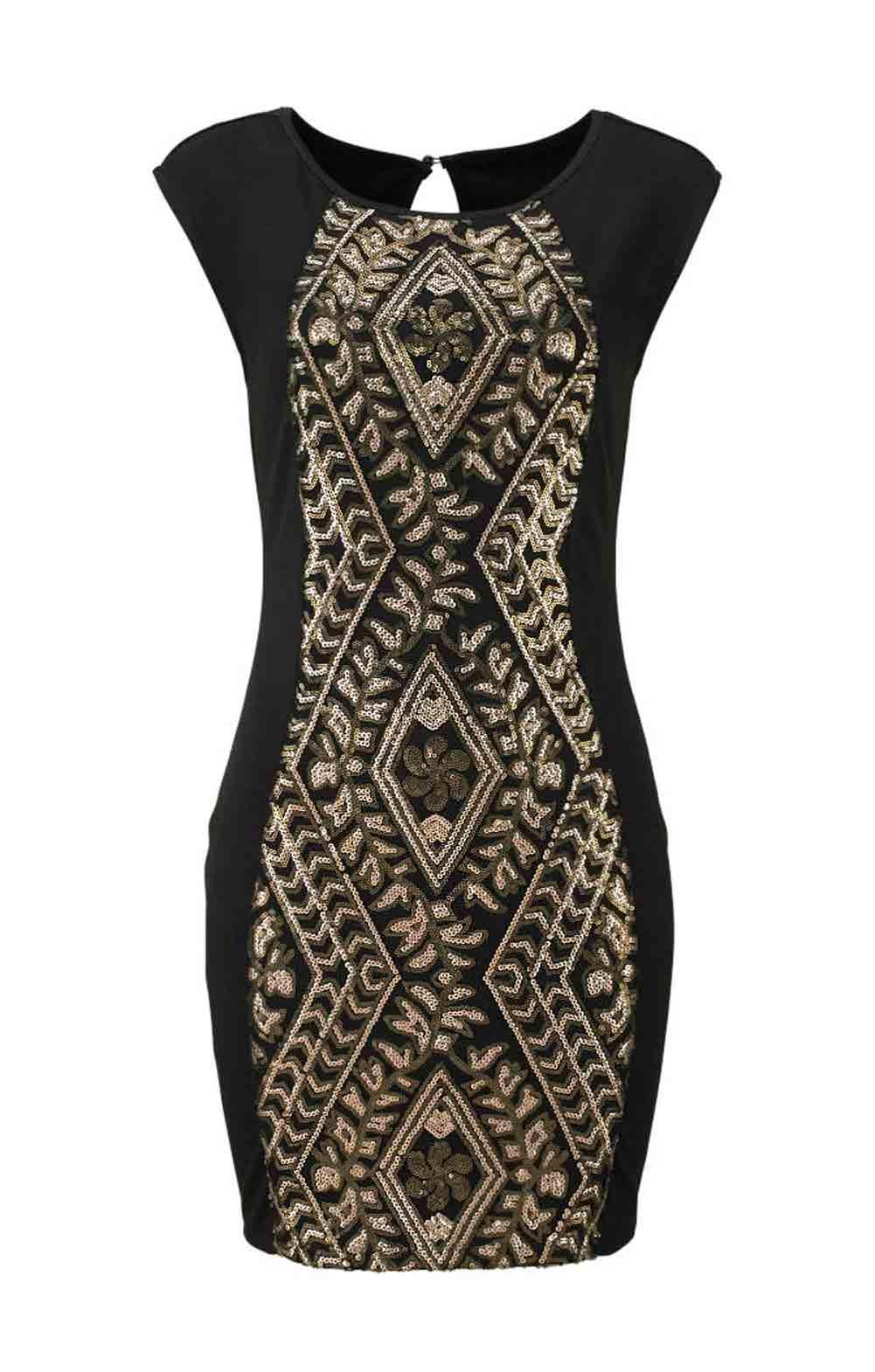 Kleid mit Pailletten schwarz-gold | Kleider | Outlet Mode-Shop