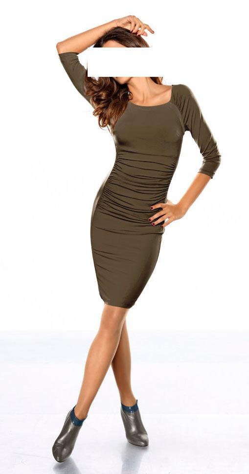 Kleid mit Raffungen taupe Gr.46   Kleider   Outlet Mode-Shop