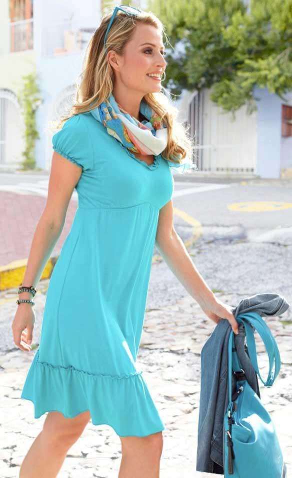 Kleid mit Rüschen türkis Größe 34 | Kleider | Outlet Mode-Shop