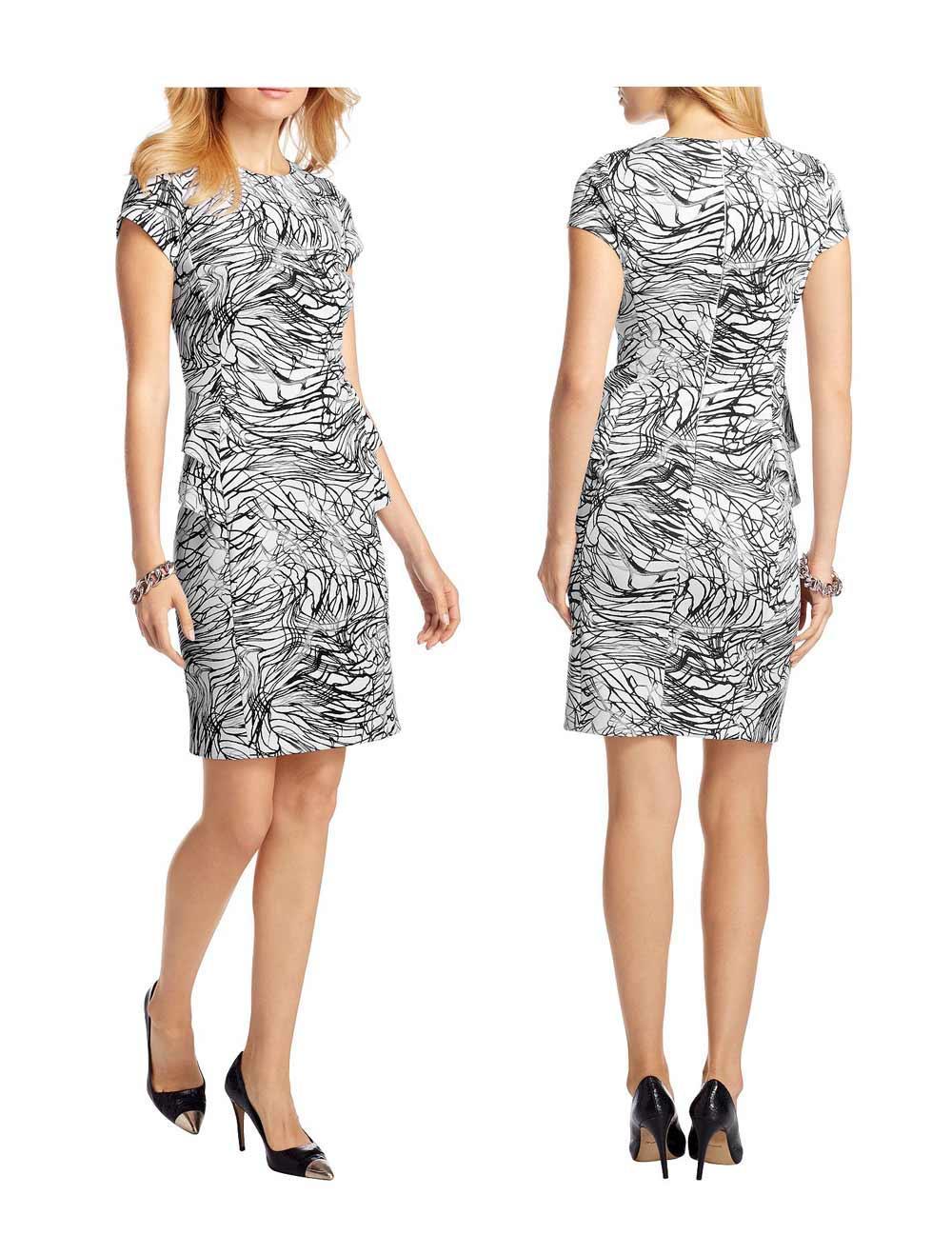 1c94a5da6baa Kleid mit Schößchen weiß-schwarz-grau   Kleider   Outlet Mode-Shop