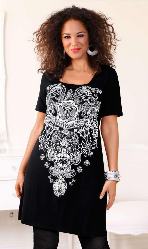 dd5e6940a0c9 Kleid mit Steinen schwarz-weiß   Kleider   Outlet Mode-Shop