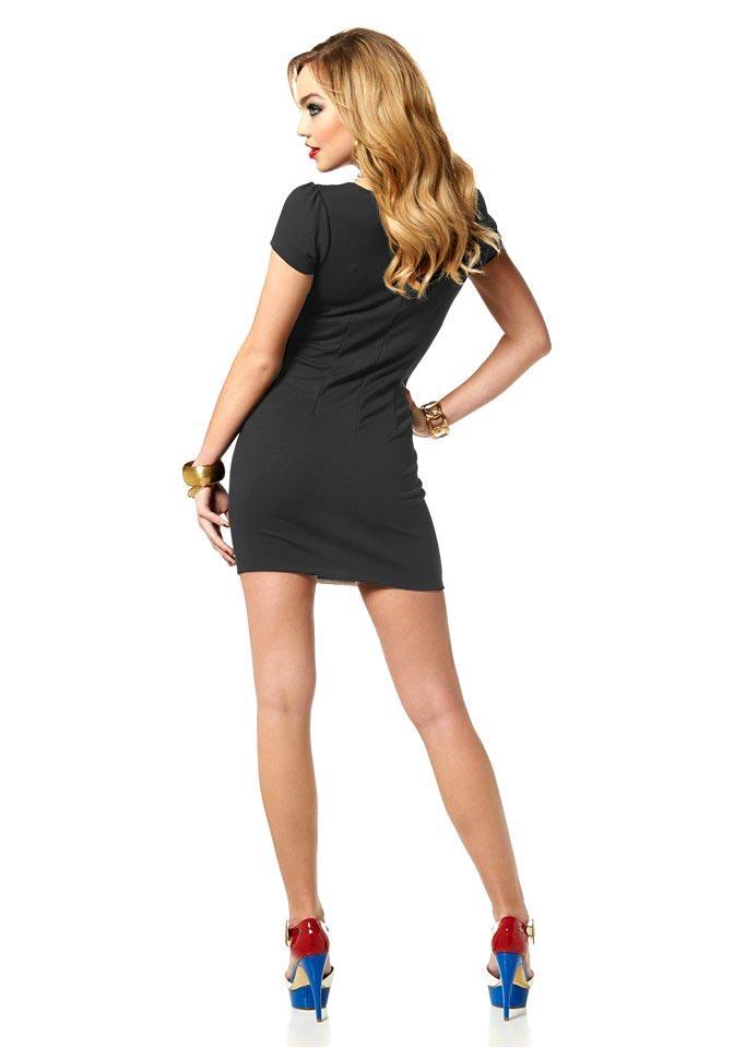 Kleid mit Streifen schwarz-weiß   Kleider   Outlet Mode-Shop