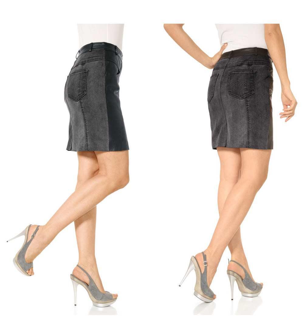 69bf1b1103be Leder-Jeansrock schwarz denim | Lederbekleidung | Outlet Mode-Shop
