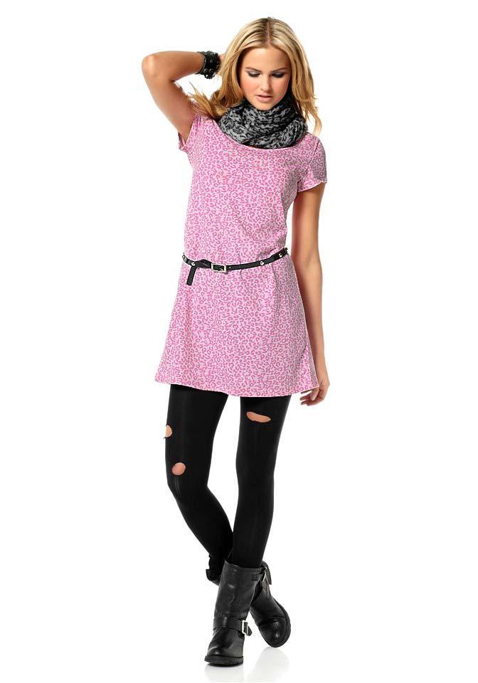 Leomuster-Kleid mit Gürtel rosa-pink | Kleider | Outlet ...