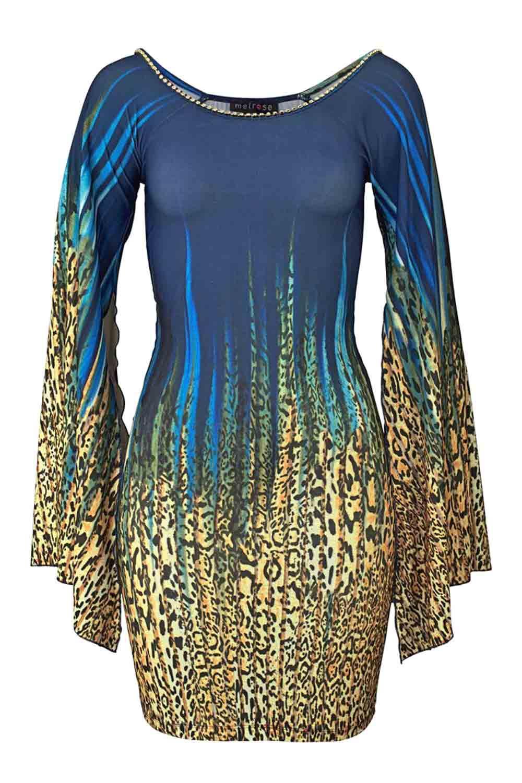 Leomuster-Kleid mit Strass blau-bunt   Kleider   Outlet ...