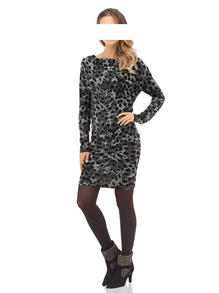 74861ce0c5d2 Leomuster-Strickkleid grau-schwarz   Kleider   Outlet Mode-Shop
