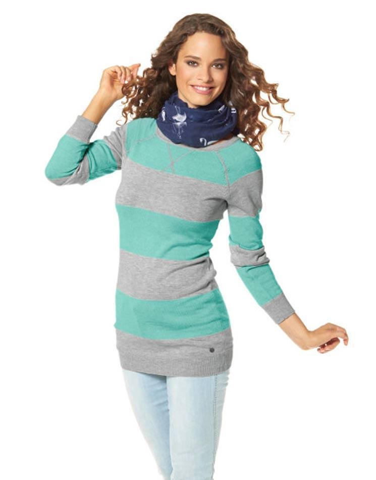 Longpullover türkis-grau   Strickwaren   Outlet Mode-Shop 7d306105c9