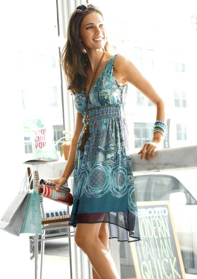 Marken-Chiffonkleid blau-bunt   Kleider   Outlet Mode-Shop