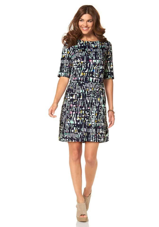 Marken-Kleid blau-bunt   Kleider   Outlet Mode-Shop