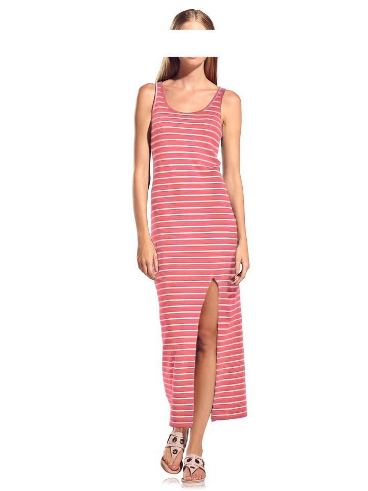 Maxikleid koralle-weiß gestreift | Kleider | Outlet Mode-Shop