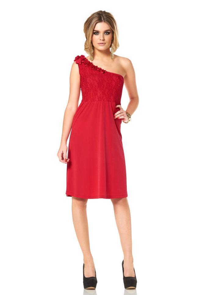 One-Shoulder-Kleid mit Spitze rot | Kleider | Outlet Mode-Shop
