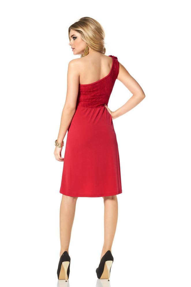 One-Shoulder-Kleid mit Spitze rot Größe 38 | Kleider ...