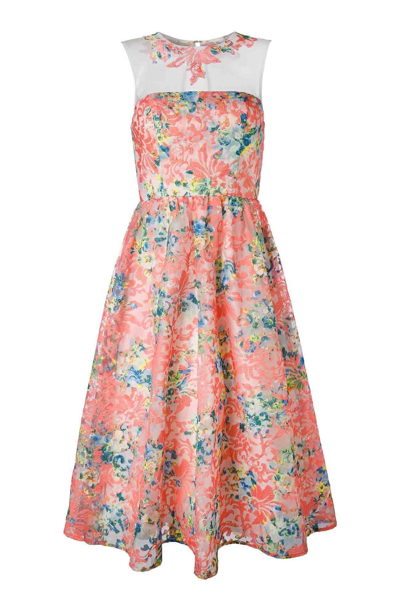 Organza-Kleid mit Stickerei bunt | Abendmode | Outlet Mode ...