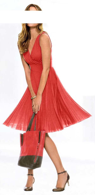 Plissee-Kleid koralle | Kleider | Outlet Mode-Shop