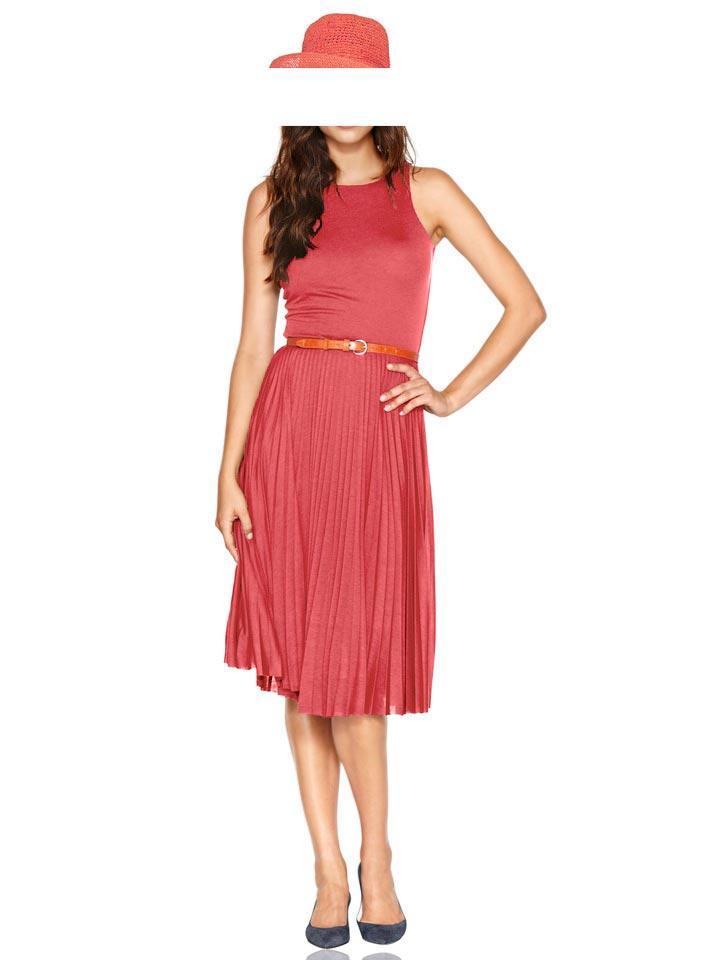 Plissee-Kleid koralle Größe 44 | Kleider | Outlet Mode-Shop
