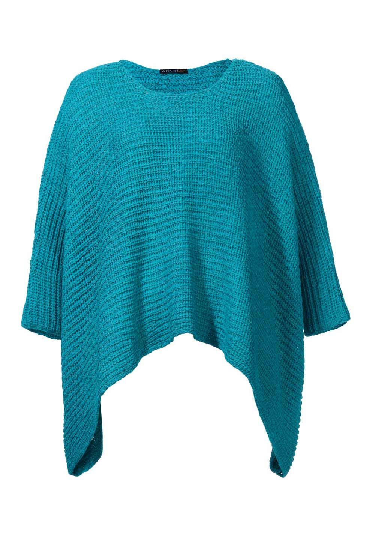 Poncho-Pullover türkis   Strickwaren   Outlet Mode-Shop 7828d66ac8
