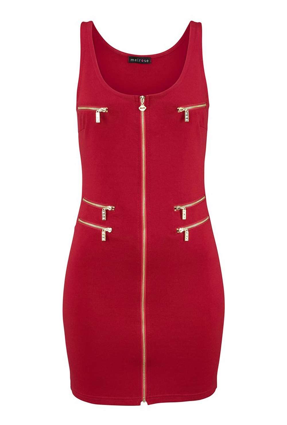Reißverschluß-Kleid rot Größe 38 | Kleider | Outlet Mode-Shop