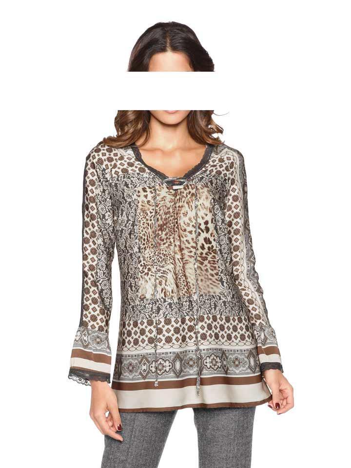 fdad722220f0 Satin-Tunika mit Spitze bunt   Blusen   Tuniken   Outlet Mode-Shop