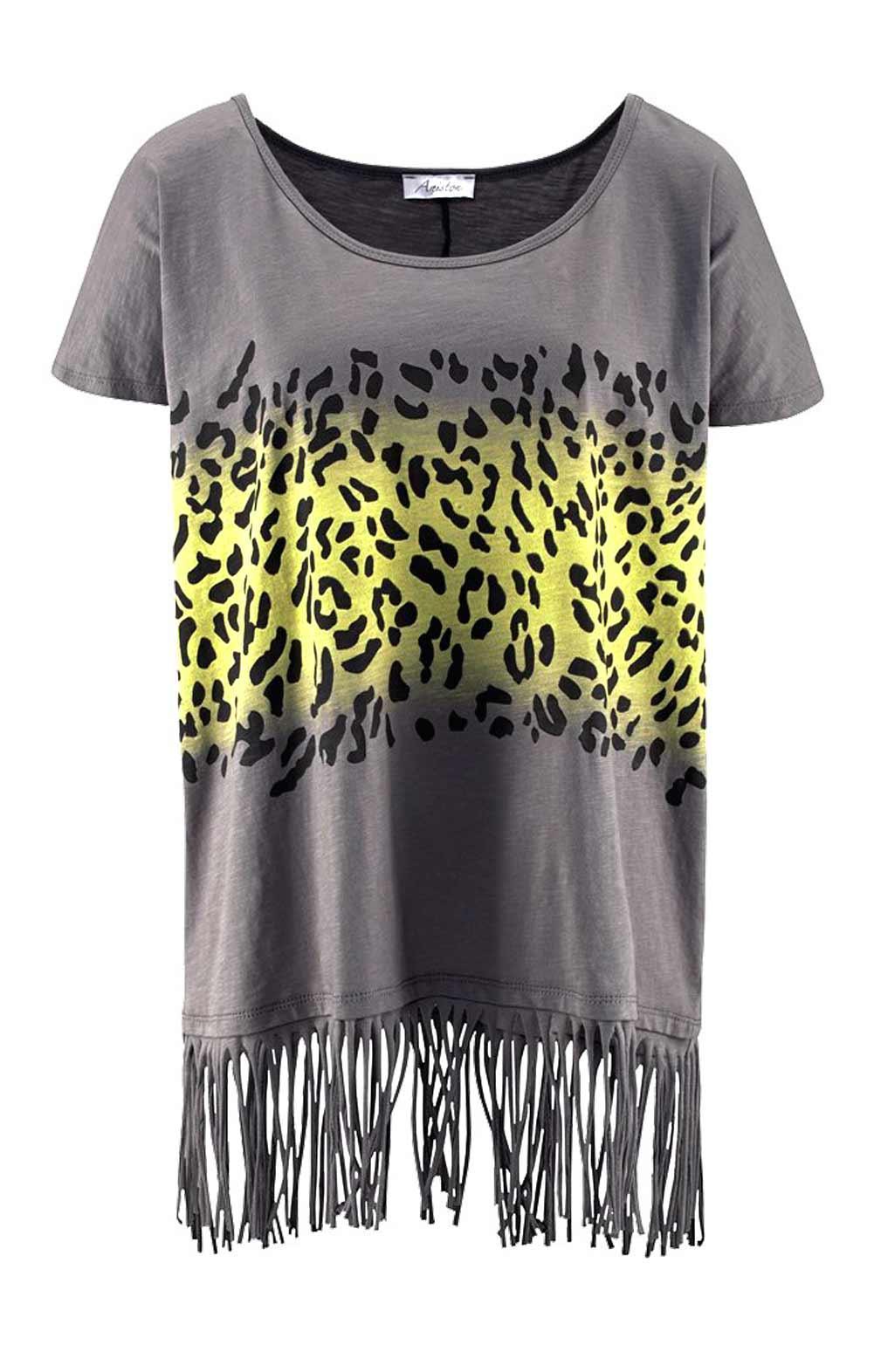 shirt mit fransen grau gelb shirts und tops outlet mode shop. Black Bedroom Furniture Sets. Home Design Ideas