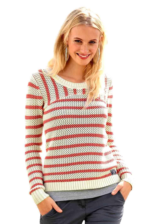 free shipping dd23a 77181 Streifen-Pullover ecru-pink   Strickwaren   Outlet Mode-Shop