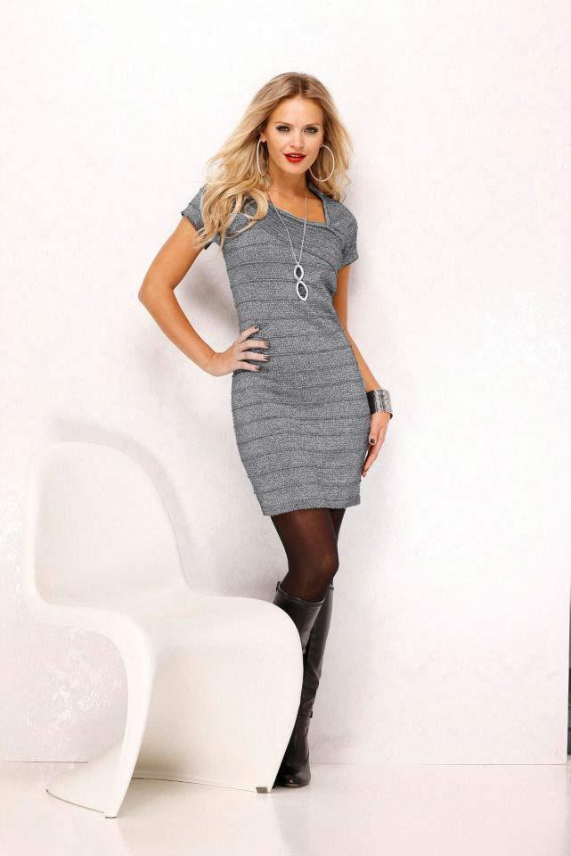 ed095e97652f Strickkleid grau-silber   Kleider   Outlet Mode-Shop