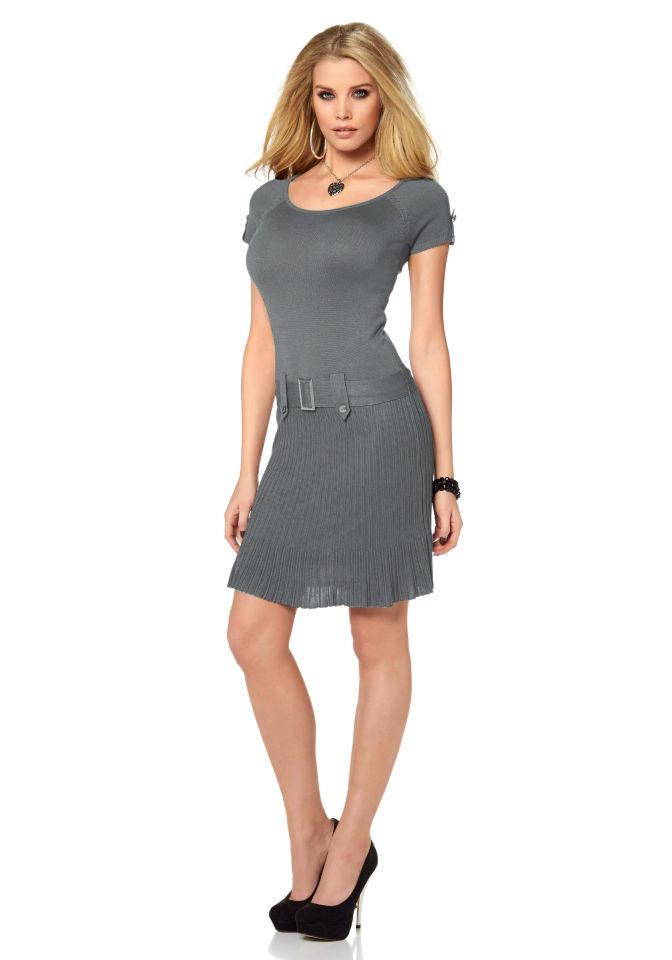 f3f5817dce10 Strickkleid mit Gürtel grau   Kleider   Outlet Mode-Shop